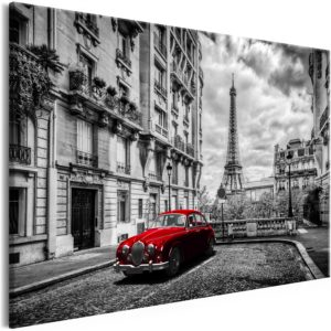Wandbild - Car in Paris (1 Part) Red Wide