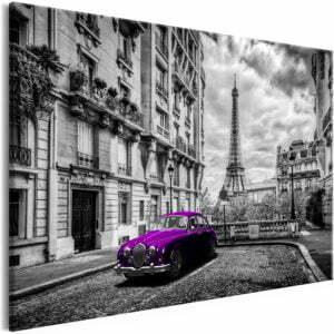 Wandbild - Car in Paris (1 Part) Violet Wide