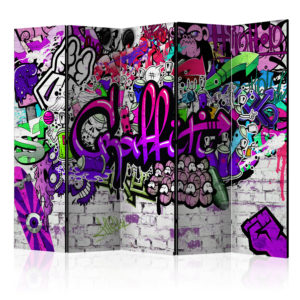 5-teiliges Paravent -  Purple Graffiti [Room Dividers]