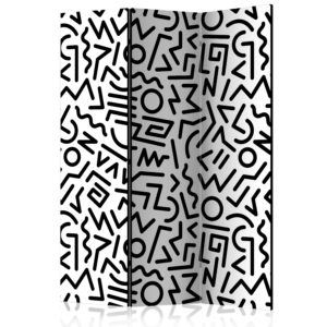 3-teiliges Paravent - Black and White Maze [Room Dividers]