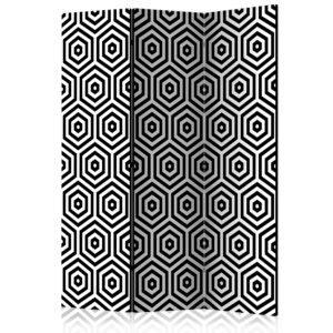 3-teiliges Paravent - Black and White Hypnosis [Room Dividers]