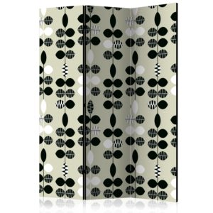 3-teiliges Paravent - Black and White Dots [Room Dividers]