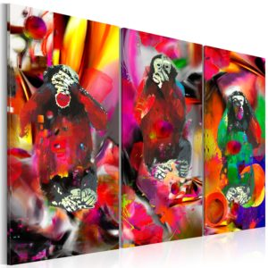 Wandbild - Crazy Monkeys - triptych