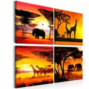 Wandbild - African Animals (4 Parts)