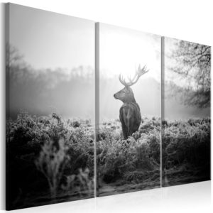 Wandbild - Black and White Deer I