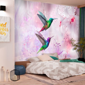 Fototapete - Colourful Hummingbirds (Purple)
