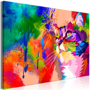Wandbild - Colourful Cat (1 Part) Wide