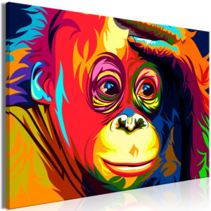 Wandbild - Colourful Orangutan (1 Part) Wide