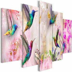Wandbild - Colourful Hummingbirds (5 Parts) Wide Pink