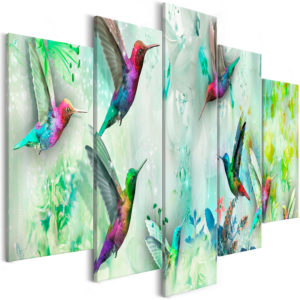 Wandbild - Colourful Hummingbirds (5 Parts) Wide Green