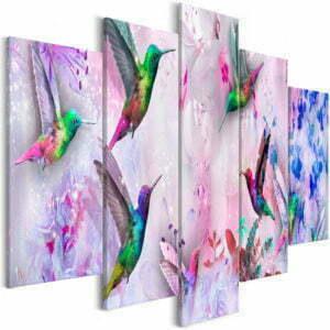Wandbild - Colourful Hummingbirds (5 Parts) Wide Violet