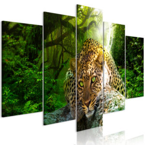 Wandbild - Leopard Lying (5 Parts) Wide Green