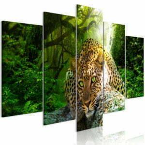 Wandbild - Leopard Lying (5 Parts) Wide Green