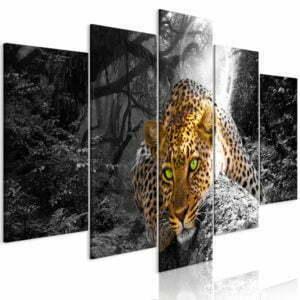 Wandbild - Leopard Lying (5 Parts) Wide Grey