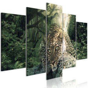 Wandbild - Leopard Lying (5 Parts) Wide Pale Green