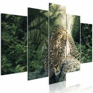 Wandbild - Leopard Lying (5 Parts) Wide Pale Green