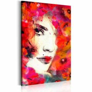 Wandbild - Frauengesicht mit Mohnblumen