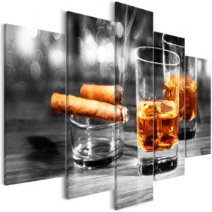 Wandbild - Cigars and Whiskey (5 Parts) Wide