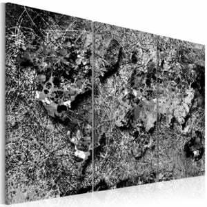 Wandbild -  World Map: Grey Thread