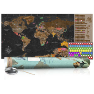Rubbel Weltkarte - Braune Weltkarte - Poster (Englische Beschriftung)