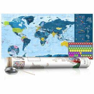 Rubbel Weltkarte - Blaue Weltkarte - Poster (Englische Beschriftung)