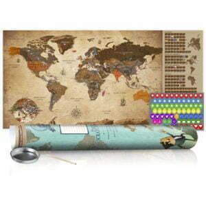 Rubbel Weltkarte - Weltkarte Vintage - Poster (Englische Beschriftung)