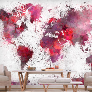Fototapete - World Map: Red Watercolors