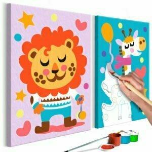 Malen nach Zahlen - Löwe & Giraffe