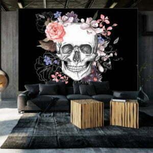 Fototapete - Skull and Flowers