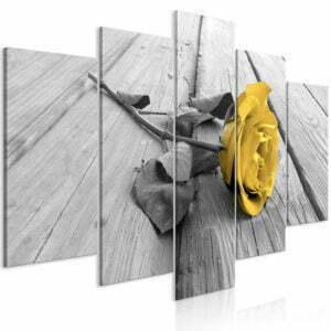 Wandbild - Rose on Wood (5 Parts) Wide Yellow
