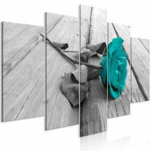 Wandbild - Rose on Wood (5 Parts) Wide Turquoise