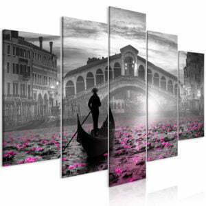 Wandbild - Magic Venice (5 Parts) Wide Grey
