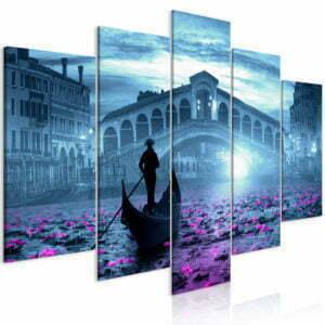 Wandbild - Magic Venice (5 Parts) Wide Blue