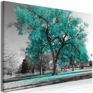 Wandbild - Autumn in the Park (1 Part) Wide Turquoise