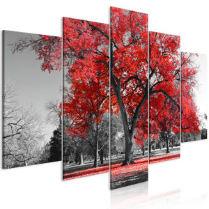Wandbild - Autumn in the Park (5 Parts) Wide Red