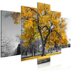 Wandbild - Autumn in the Park (5 Parts) Wide Gold