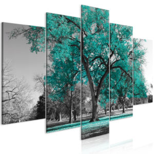 Wandbild - Autumn in the Park (5 Parts) Wide Turquoise