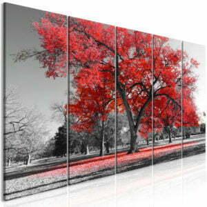 Wandbild - Autumn in the Park (5 Parts) Narrow Red