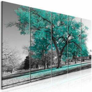 Wandbild - Autumn in the Park (5 Parts) Narrow Turquoise