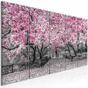 Wandbild - Magnolia Park (5 Parts) Narrow Pink