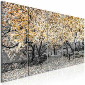 Wandbild - Magnolia Park (5 Parts) Narrow Orange