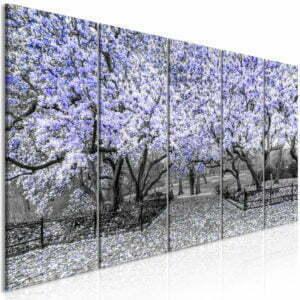 Wandbild - Magnolia Park (5 Parts) Narrow Violet