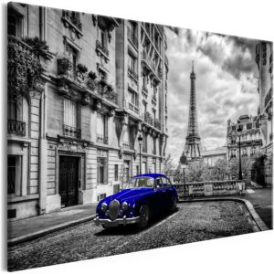 Wandbild - Car in Paris (1 Part) Blue Wide