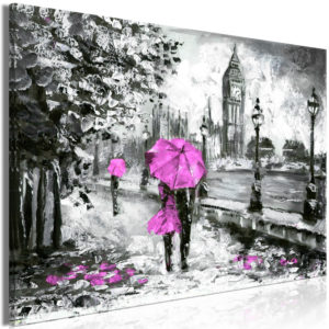 Wandbild - Walk in London (1 Part) Wide Pink