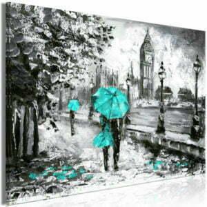 Wandbild - Walk in London (1 Part) Wide Turquoise