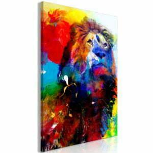 Wandbild - Lion and Watercolours (1 Part) Vertical