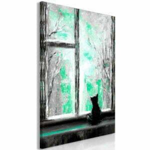 Wandbild - Longing Kitty (1 Part) Vertical Green