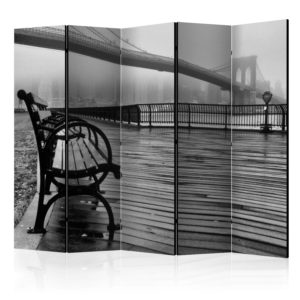 5-teiliges Paravent - A Foggy Day on the Brooklyn Bridge II [Room Dividers]