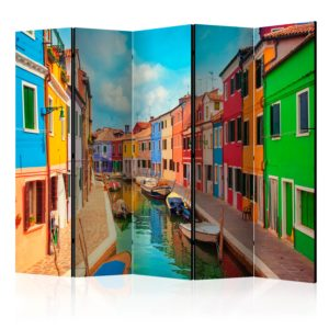 5-teiliges Paravent -  Colorful Canal in Burano II [Room Dividers]